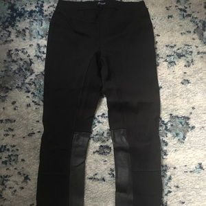 Madewell black leggings with faux leather panels
